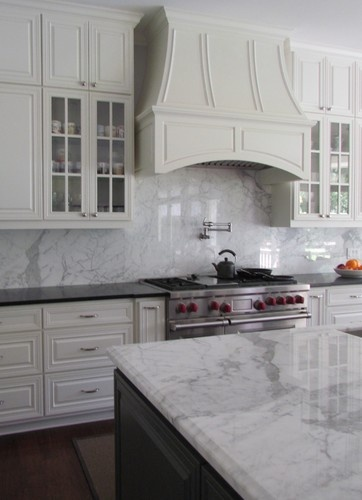 White Honed Marble Kitchen Countertops