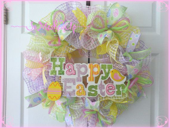 Pastel Deco Mesh Easter wreath with a Happy Easter by SoMeshedUp, $52.00