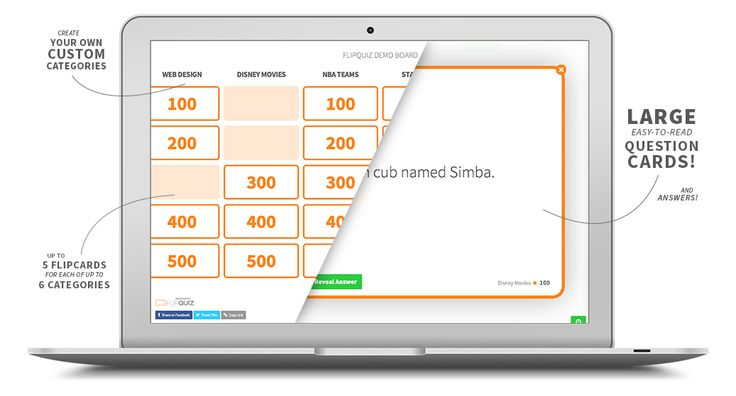 FlipQuiz is a web tool that allows teachers to easily create gameshow-style boards for test reviews in the classroom