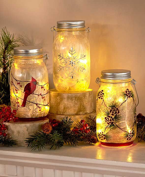 Embrace the beauty of the winter season with these Frosted Glass LED Jars. This jar is the perfect addition to your holiday decor. Five inner LED lights on a st
