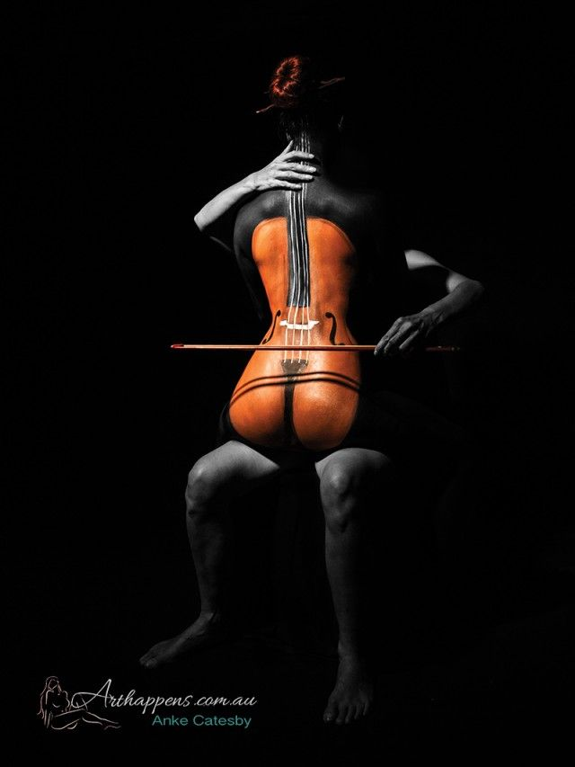 Cello Body Painting - Anke Catesby | I Love Body Art