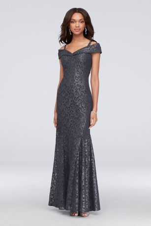 fa5d09ace1 Cold-Shoulder Glitter Lace Mermaid Dress Style 2047