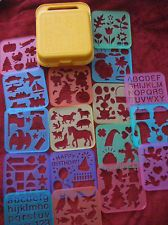 Tupperware stencil set and case 1980s 1990s  ahh! wish I could tag a pin! Julianna.. Erica.. anybody?! xD