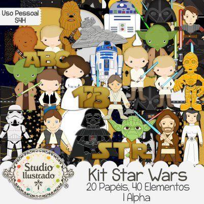 Star Wars Kit, Kit Star Wars, Guerra nas Estrelas, Anakin Skywalker, Darth Vader, Obi-Wan Kenobi, R2-D2, robô, Robot, C-3PO, Mestre Yoda, Master Yoda, Chewbacca, Luke Skywalker, Leia Organa, Han Solo, Espada de Sabre, Luz de Sabre, Lightsaber, Light Saber, Destroyer, Nave Destroyer, Kit Digital, Espaço, Space, Jedi, Universo, Universe, Princess Leia, Princesa Leia, Stormtropper, Arma, Gun, Arm, Elementos, Elements, Papers, Papéis, Papel, Alpha