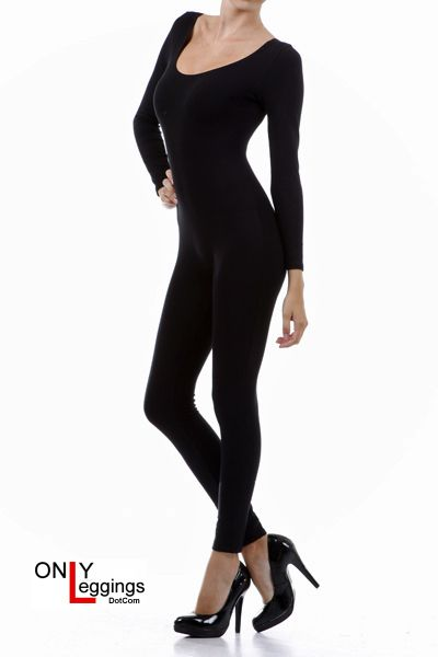 "Our Full Nylon Spandex Bodysuit is going to be one of the very best fitting and feeling jumpsuits that you have ever worn. If you do not have a jumpsuit and are looking to get one for the first time then this will be your ideal choice.  It come in a luxurious black fabric and 4 sizes for easy fitting.  This spandex bodysuit fits women in height from 5'2"" - 5'9"" and has very generous stretch for all body types."