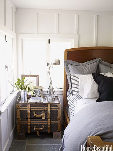 walls, master bedroomGuest Room, Vintage Suitcases, Louis Vuitton, Trunks, Bedside Tables, Bedrooms, Night Stands, Vintage Luggage, Old Suitcas