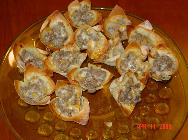 These are awesome! sausage & cheese wonton wrapper appetizer