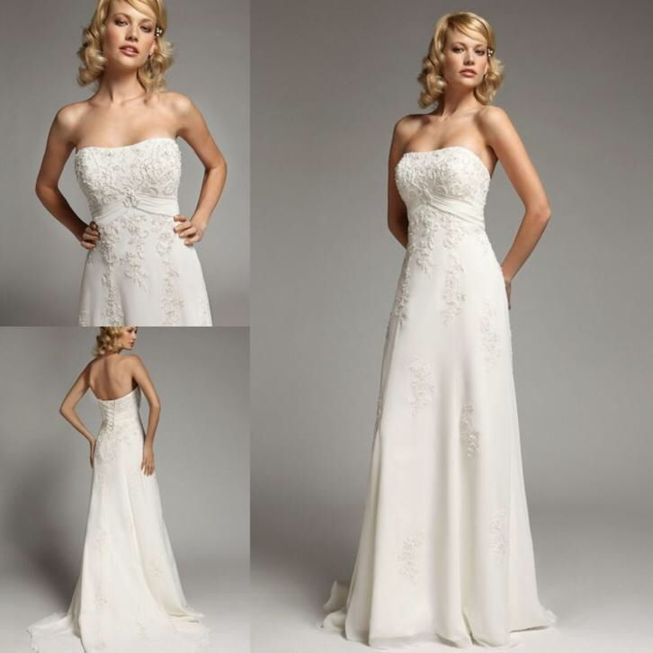 Bruidsjurk elegant model van chiffon met prachtig kant