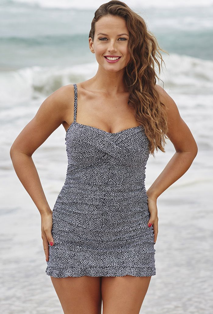 Shore Club Ruffle Swimdress with side shirring - Signature power mesh tummy-control lining instantly slims / Swimsuits For All