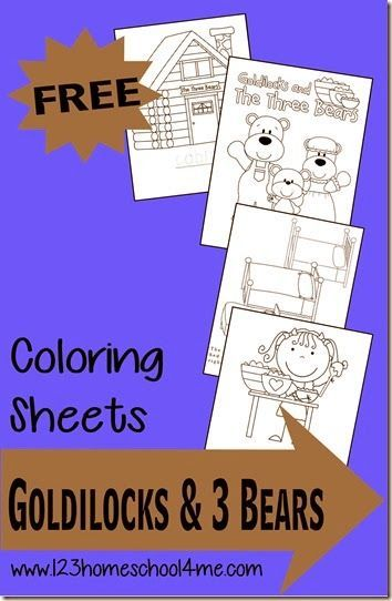 FREE Goldilocks and the three bears coloring pages! Super cute and great for any time or with a classic stories unit for toddler, preschool, kindergarten, and 1st grade (coloring sheets)