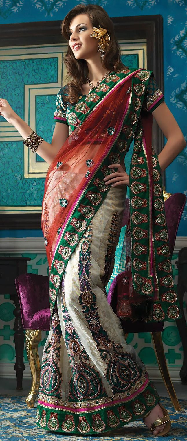 #Red and #Cream Net and Jacquard #Lehenga Style #Saree With Blouse @ $ 108.90