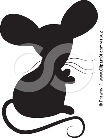 Clipart Illustration of a Black Silhouetted Mouse by Prawny