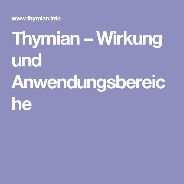 Thymian – Wirkung und Anwendungsbereiche