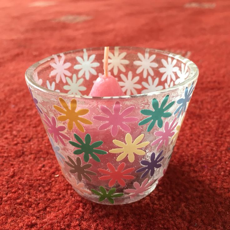 Tea-Light Holder Decoupaged with Multi-Coloured Hole-Punched Flowers