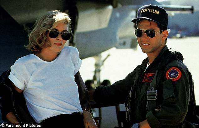 Kelly McGillis and Tom Cruise in a shot from the movie Top Gun