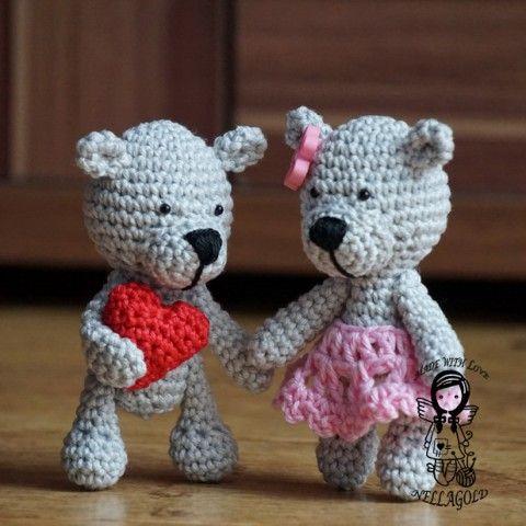 Zamilovaný Medvídek - návod 189 valentýn popis postup háčkovaný medvídek návod na háčkování háčkovaný medvěd nellagold háčkovaný návod háčkovaný medvídci na medvěda na medvídka