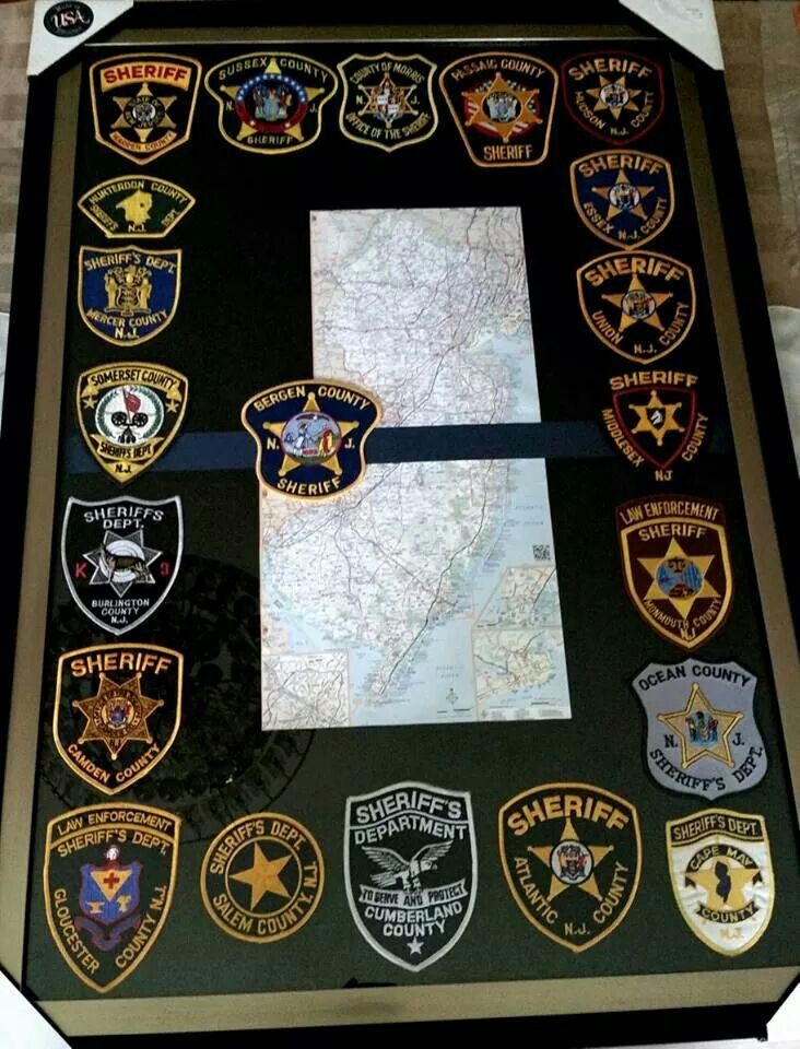 Map with all the patches from the states counties LEO gift, law enforcement sheriff's department