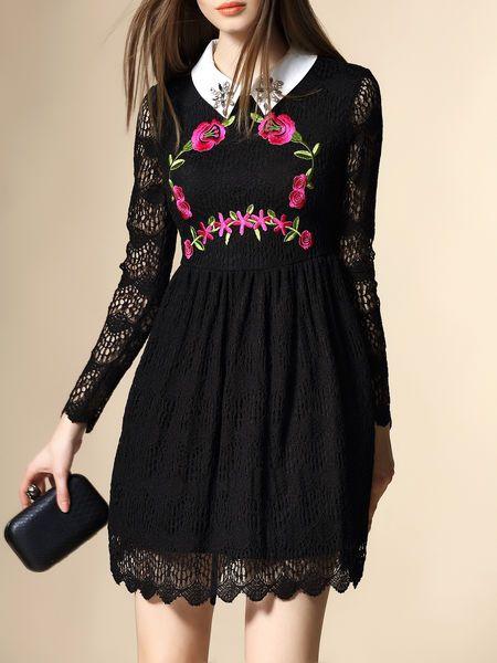 Embroidery Lace Mini Dress