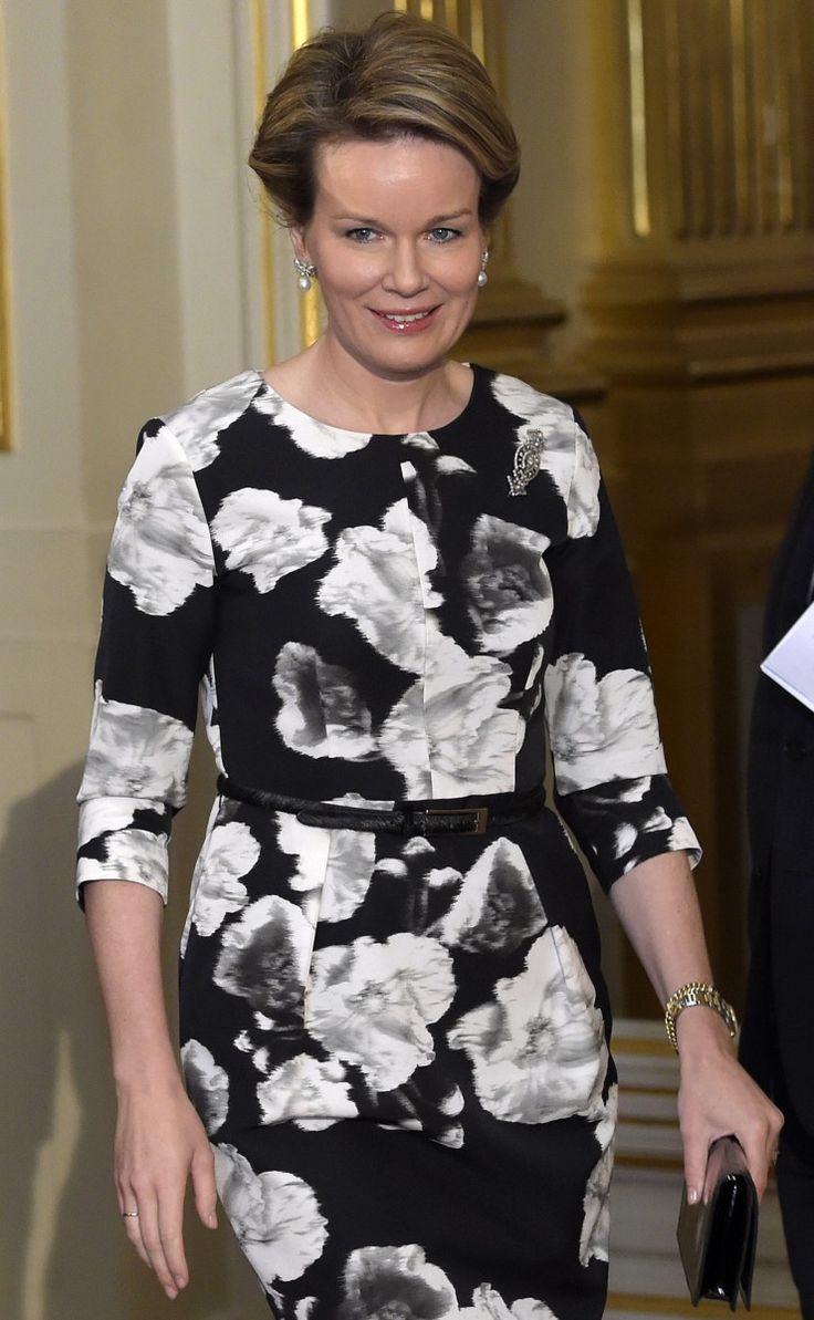 Queen Mathilde wears floral Natan dress for New Year's reception with members of the European Union on Tuesday.