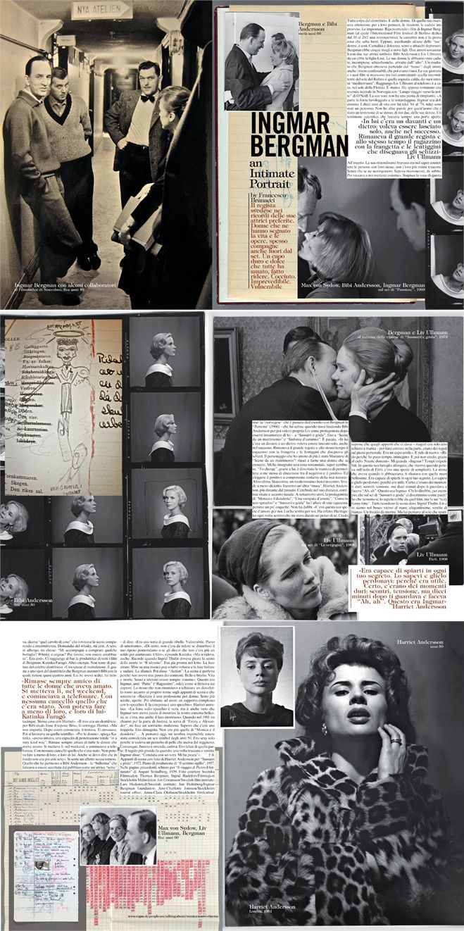 """Vogue Italia February 2011 - Left. Ingmar Bergman and colleagues, at Filmstaden in Stockholm, late 40s. Right. Top. Bergman and Bibi Andersson, half 60s. Bottom. Max von Sydow, Bibi Andersson, Ingmar Bergman, on the set of The Passion of Anna"""", 1969 - See more at: http://www.vogue.it/en/people-are-talking-about/music-theatre-cinema/2011/02/ingmar-bergman#ad-image63990"""