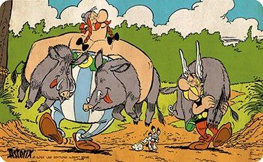 Frühstücksbrettchen - Asterix - Wildschweinjagd