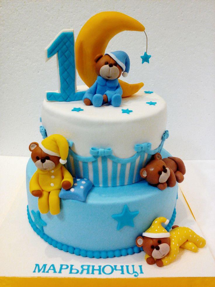 Торт на годик с мишками #торт_на_заказ_луганск #день_рождения #бисквитный_торт #шоколадный_торт