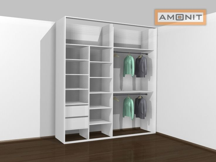 Ukázka vnitřního uspořádání vestavěné skříně - 12. varianta