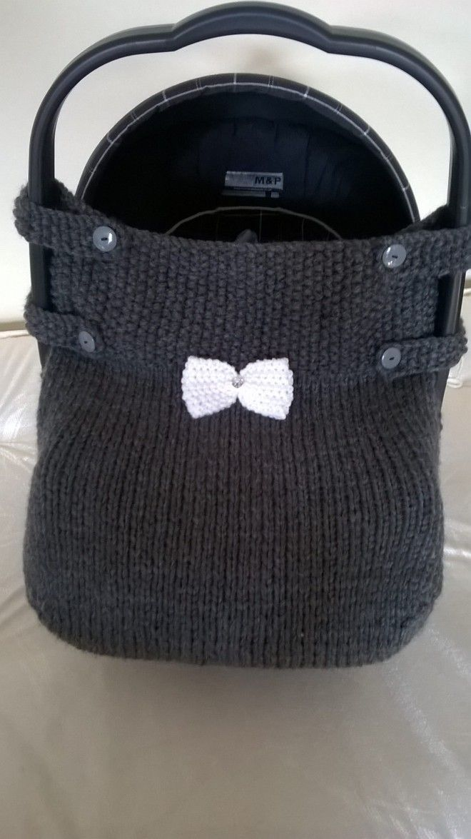 Hand knitted car seat cover!