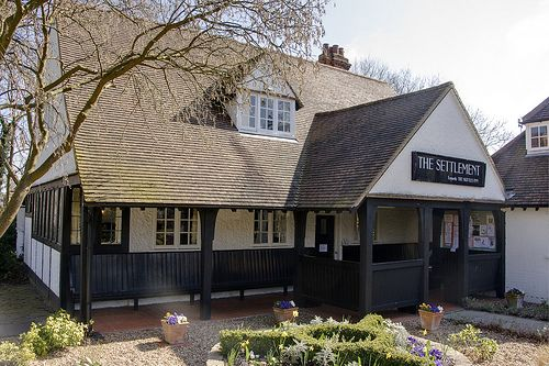The Settlement also known as The Skittles Inn , known as the pub with no beer. Built in 1907 in Letchworth Garden City