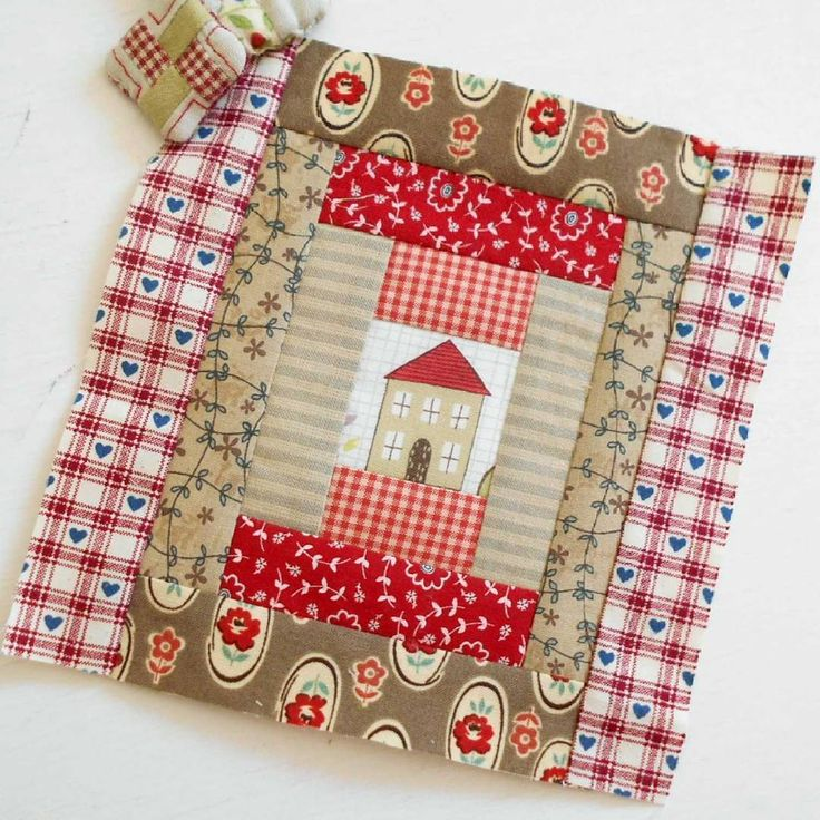 Block 68 - Country Home.  Playing around with some of my old country fabrics.