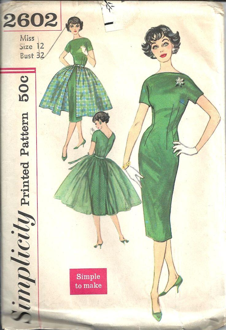 vintage sewing pattern dress simplicity 2602 sewing