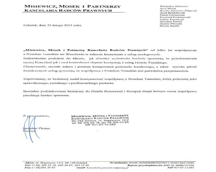 """Recommendations of """"Misiewicz, Mosek i Partnerzy Kancelaria Radców Prawnych"""""""