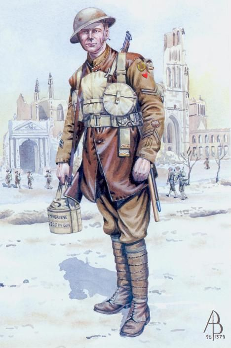 British; 1/1st Hertfordshire Regt. Corporal, Ypres, 1917. A Territorial Army unit only 1/1st Battalion served overseas during WW I. The other 3 battalions remained in UK throughout the war.