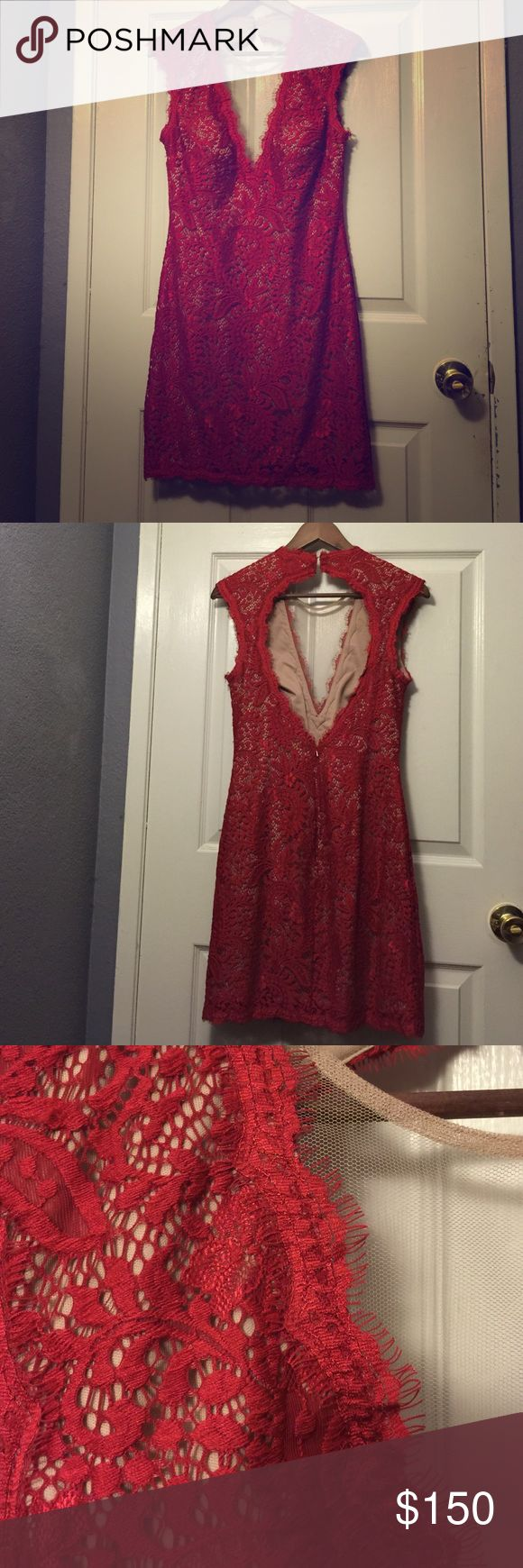 Dress Aqua dress size 8 worn once in flawless condition! Seen on real housewives of OC on vicki.  Beautiful nude underlay mesh and vibrant red lace Dresses