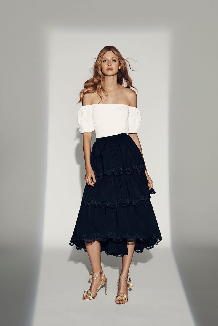 White Off Shoulder Top and Navy Tiered Skirt. #seedheritage