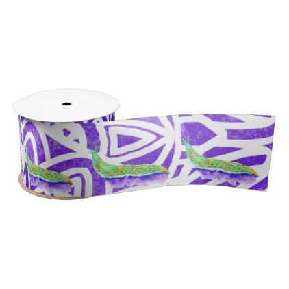 Watercolor Stained Glass Abstract Pattern Purple Satin Ribbon - watercolor gifts style unique ideas diy
