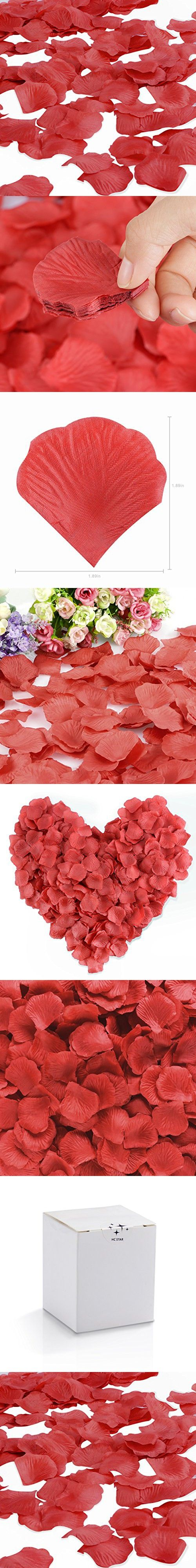HCSTAR 1200pcs Silk Rose Petals Artificial Flower Wedding Party Vase Home Decor Bridal Petals Rose Favors,Winered