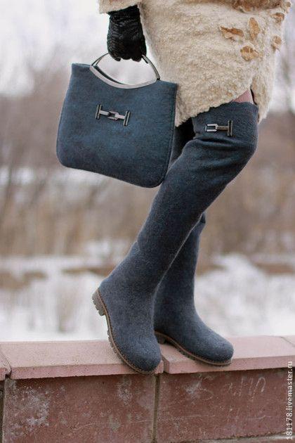 """Обувь ручной работы. Ярмарка Мастеров - ручная работа. Купить Комплект ботфорты + сумочка """"Антрацит"""". Handmade. Темно-серый"""