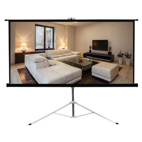 universal floor standing portable foldout rollup tripod manual projector screen x matte white surface