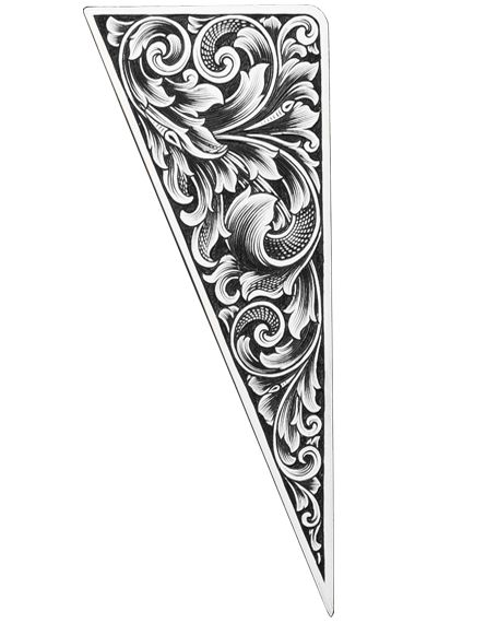Intricate hand engraving designs in the inlays.