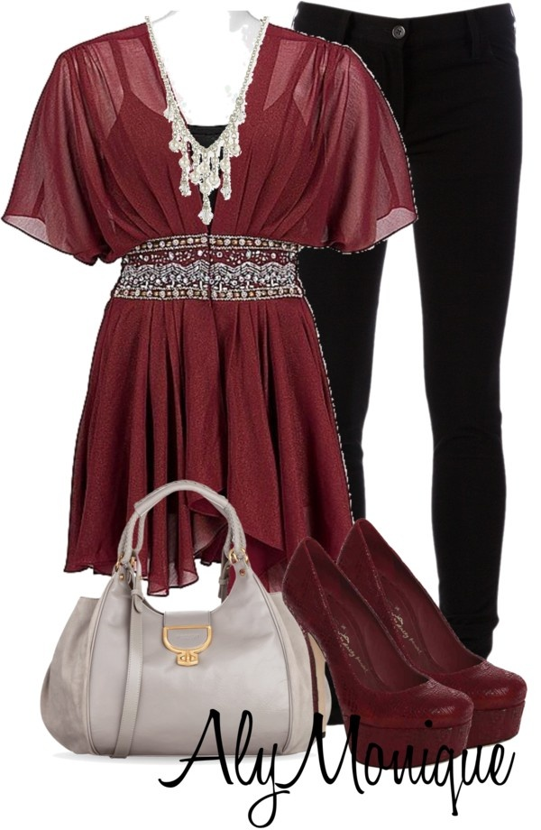 """""""Untitled #590"""" by alysfashionsets on Polyvore - I dont like the grayish tan bag or the heels but I luv the maroon empire waist top w/the black skinny jeans or possibly even some black leggings."""