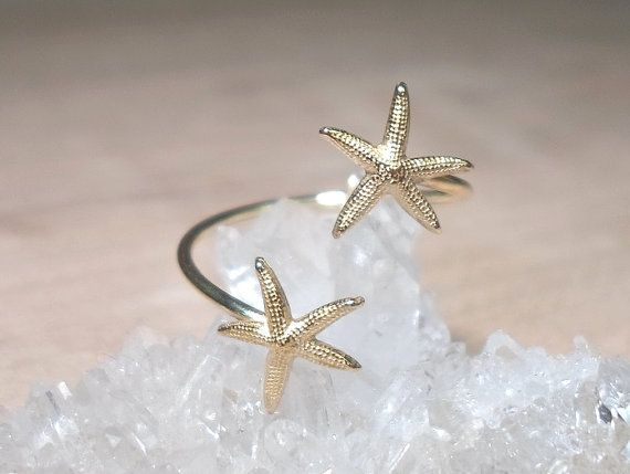 Double Wrap Starfish Ring- Starfish Midi above the knuckle ring-Duo Knuckle Rings Gold Brass- on Etsy, $15.00