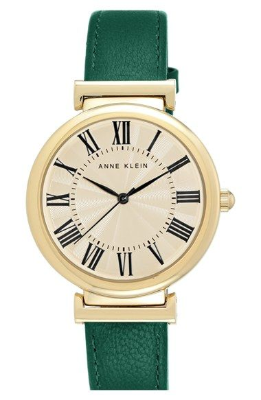 Anne Klein Round Leather Strap Bangle Watch, 38mm available at #Nordstrom