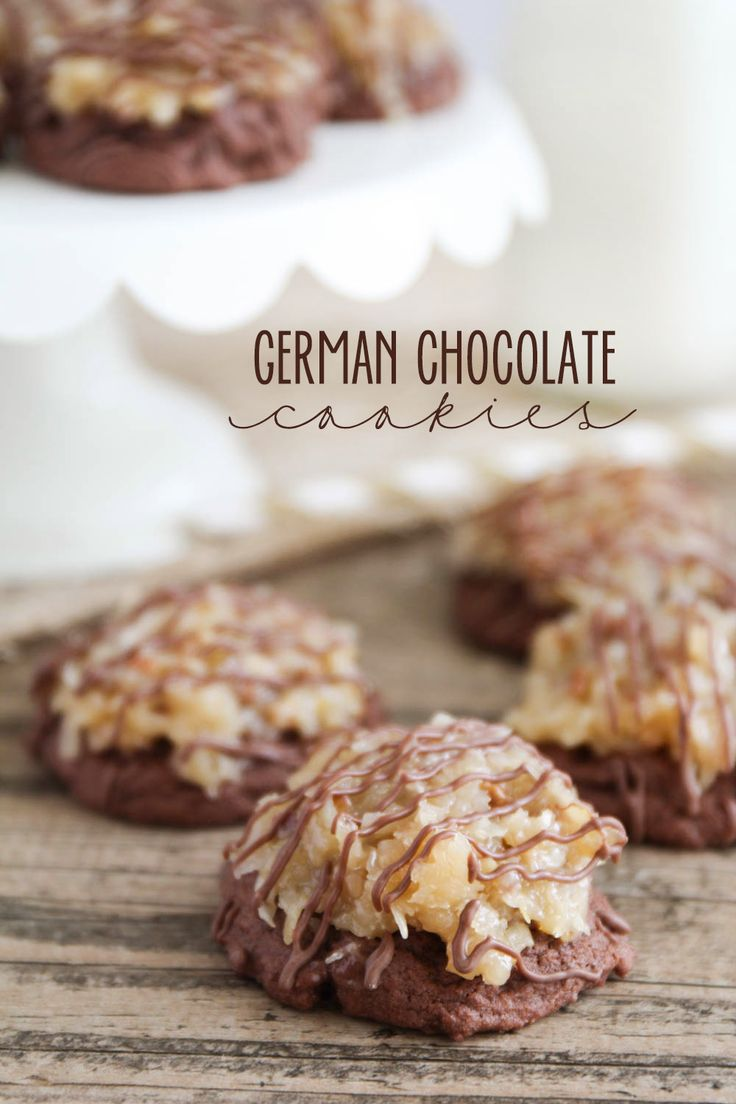 German Chocolate Cookies - a rich, dense, chocolate-y cookie topped with a heavenly coconut pecan frosting and drizzled in chocolate. A deliciously indulgent dessert!