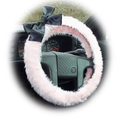 (via Pretty Baby Pink fuzzy car steering wheel cover with black...