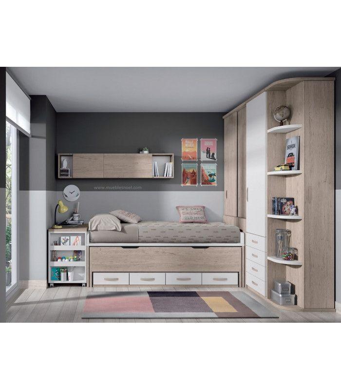 Dormitorio juvenilAlcobendas con muchos armarios roperos en esquina, mesa extraíble, camas, estanterías y zapatero.