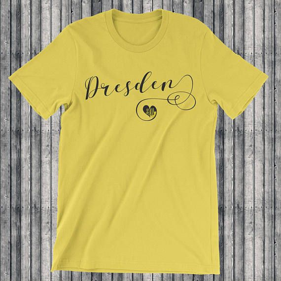 Heart #Dresden T-Shirts. Whether you come from Dresden, have lived in Dresden, visited Dresden or you just loves everything to do with the great #German city, this may well be the perfect t-shirt for you. This stylish scripted design features the city flag of Dresden in a heart. #Deutschland #Saxony