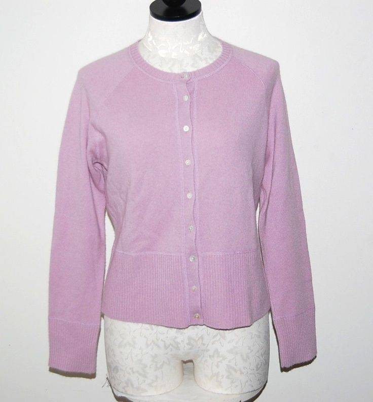 A. Giannetti 100% Cashmere Dusty Rose Cardigan Sweater M ...