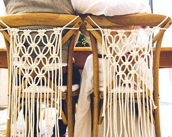 Conjunto de 2 Macrame silla colgante - Macrame Macrame moderno - decoración de la boda de Boho - boda escenario - cubiertas de la silla de la boda - boda escenario