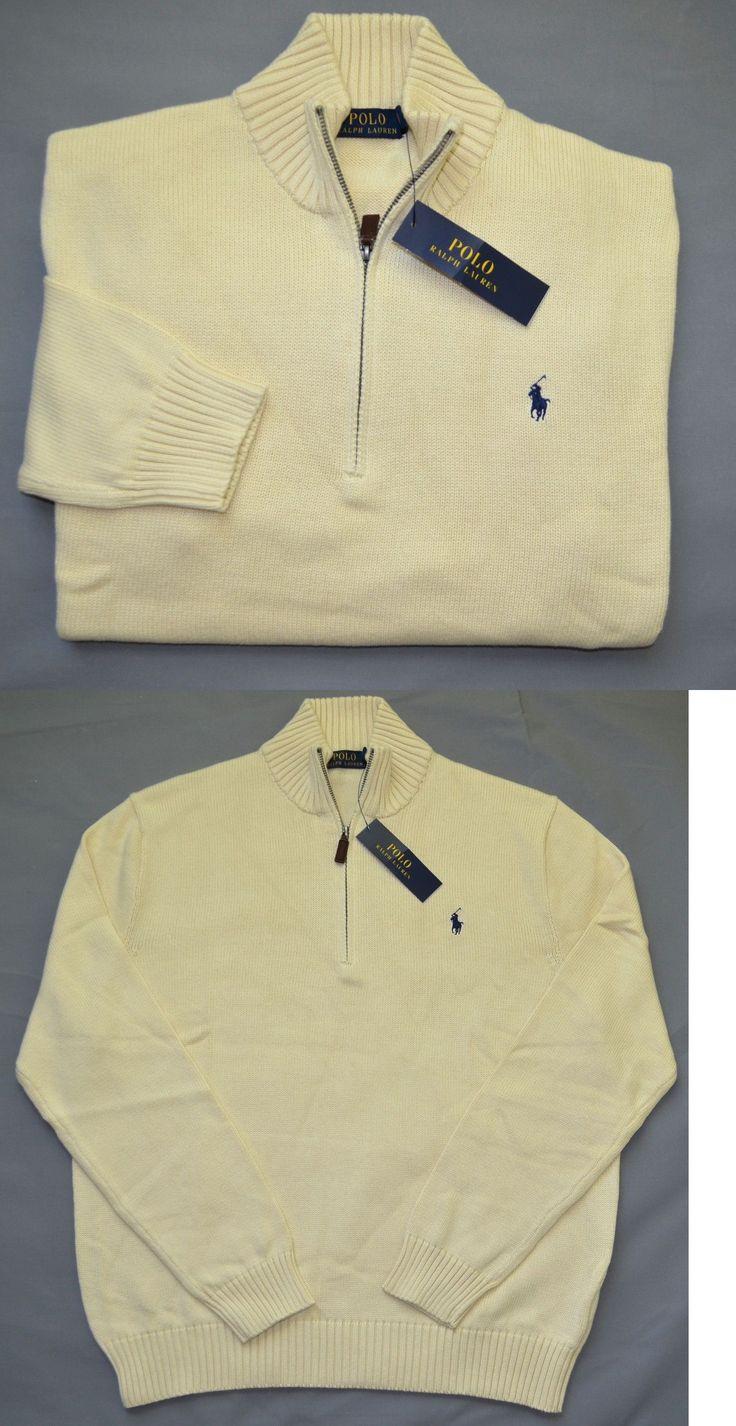 Sweaters 11484: New Medium M Polo Ralph Lauren Mens Half Zip Sweater Cream Ivory Jumper Cotton -> BUY IT NOW ONLY: $52.99 on eBay!